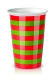 Tazza a strisce rossa e verde senza maniglia Immagine Stock