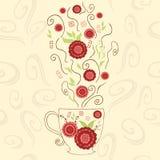 Tazza sveglia disegnata a mano con il tè rosso dell'ibisco Perfezioni il vapore caldo con i fiori e l'erba sotto la tazza Oggetto Immagini Stock