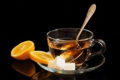Tazza, tè, limone, zucchero Fotografie Stock Libere da Diritti