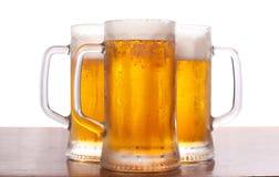 Tazza tre di birra Immagini Stock Libere da Diritti