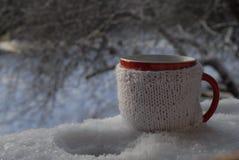 Tazza tricottata della bevanda calda nel fondo di inverno Fotografia Stock Libera da Diritti