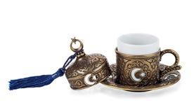 Tazza turca di cofee su fondo isolato bianco Immagini Stock