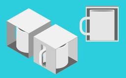 Tazza in un modello della scatola Immagini Stock