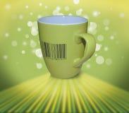 Tazza verde con di codice a barre Immagine Stock Libera da Diritti