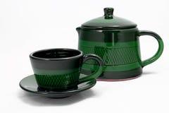 Tazza verde del coffe con il POT del coffe Fotografie Stock Libere da Diritti