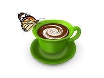 Tazza verde di cacao caldo Fotografia Stock