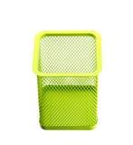 Tazza vuota verde del supporto per le penne isolate su fondo bianco Fotografia Stock Libera da Diritti