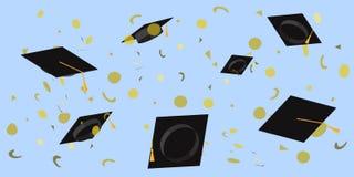 Tazze accademiche gettate al cielo in un'illustrazione piana di vettore dei coriandoli del giacimento detritico royalty illustrazione gratis