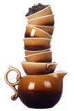 Tazze cinesi di tè e della caldaia Fotografia Stock Libera da Diritti