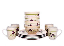 Tazze, ciotole e piatti dipinti Fotografia Stock