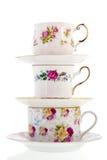Tazze d'annata del caffè o di tè della pila Fotografia Stock Libera da Diritti