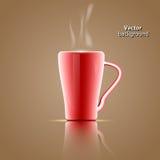 Tazze da caffè rosse su un fondo marrone Fotografie Stock