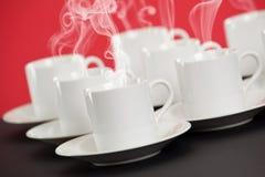 Tazze del caffè espresso con vapore Immagine Stock