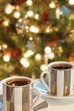 Tazze del caffè espresso del caffè di Natale Fotografia Stock