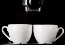 Tazze del caffè espresso e macchina del caffè Fotografia Stock Libera da Diritti