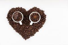 Tazze del caffè espresso nel cuore Fotografie Stock