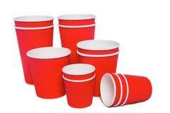 Tazze del cartone per le bevande di freddo e calde Immagine Stock