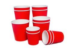 Tazze del cartone per le bevande di freddo e calde Fotografia Stock
