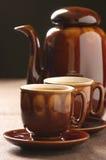 Tazze del POT del caffè e del cappuccino Fotografia Stock Libera da Diritti