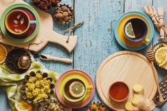 Tazze del tè di erba con differenti decorazioni Immagini Stock Libere da Diritti