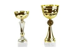 Tazze del trofeo dell'oro Fotografie Stock