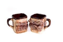 Tazze dell'argilla - oggetti di terraglie Fotografia Stock