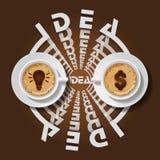 Tazze della lampadina e del simbolo di dollaro in cappuccino Fotografie Stock Libere da Diritti