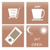 Tazze della raccolta dell'icona, servizio 24/7, un telefono cellulare a Fotografia Stock Libera da Diritti