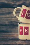 Tazze di amore Fotografia Stock Libera da Diritti