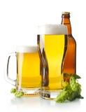 Tazze di birra sulla tavola con i coni di luppolo su bianco Fotografia Stock Libera da Diritti