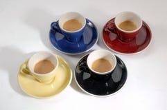 4 tazze di caffè Fotografia Stock