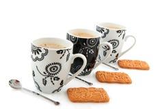 Tazze di caffè in bianco e nero Fotografia Stock