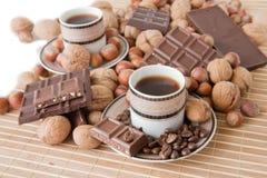 Tazze di caffè con cioccolato Immagini Stock Libere da Diritti