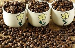 Tazze di caffè con i chicchi di caffè Immagini Stock Libere da Diritti