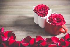 Tazze di caffè del cuore di amore Fotografia Stock Libera da Diritti