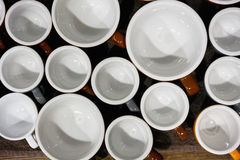Tazze di caffè del latte e del caffè espresso Fotografia Stock Libera da Diritti