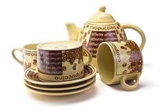 Tazze di caffè e caffettiera Fotografia Stock