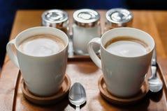 Tazze di caffè fresche Fotografia Stock