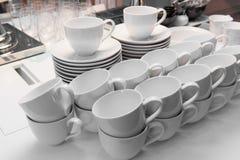 Tazze di caffè macchiato pronte per l'uso Fotografia Stock Libera da Diritti