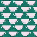 Tazze di caffè Modello senza cuciture di vettore su fondo verde Fotografia Stock Libera da Diritti