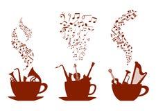 Tazze di caffè musicali Fotografie Stock