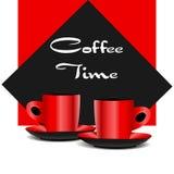 Tazze di caffè rosse Immagini Stock