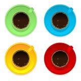 Tazze di caffè variopinte Fotografie Stock Libere da Diritti