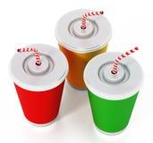 Tazze di carta della soda isolate su fondo bianco illustrazione 3D Fotografia Stock Libera da Diritti