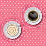 2 tazze di cuore in caffè Fotografie Stock