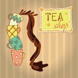 Tazze di tè con tè Quattro tazze con il modello differente Immagini Stock Libere da Diritti