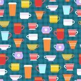 Tazze di tè e del caffè Reticolo senza giunte di vettore Fotografia Stock