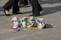 Tazze dipinte dalle festività moravian Fotografie Stock Libere da Diritti