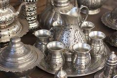 Tazze e brocca d'argento Fotografie Stock