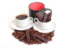 Tazze e cioccolato di caffè Immagini Stock Libere da Diritti